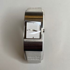 Fossil JR-9940 stainless white leather watch